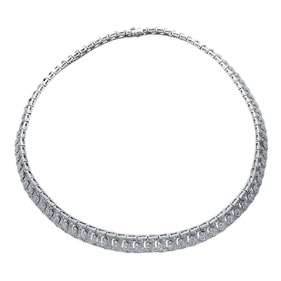 Genuine 7 TCW 14K White Gold Ladies Necklace