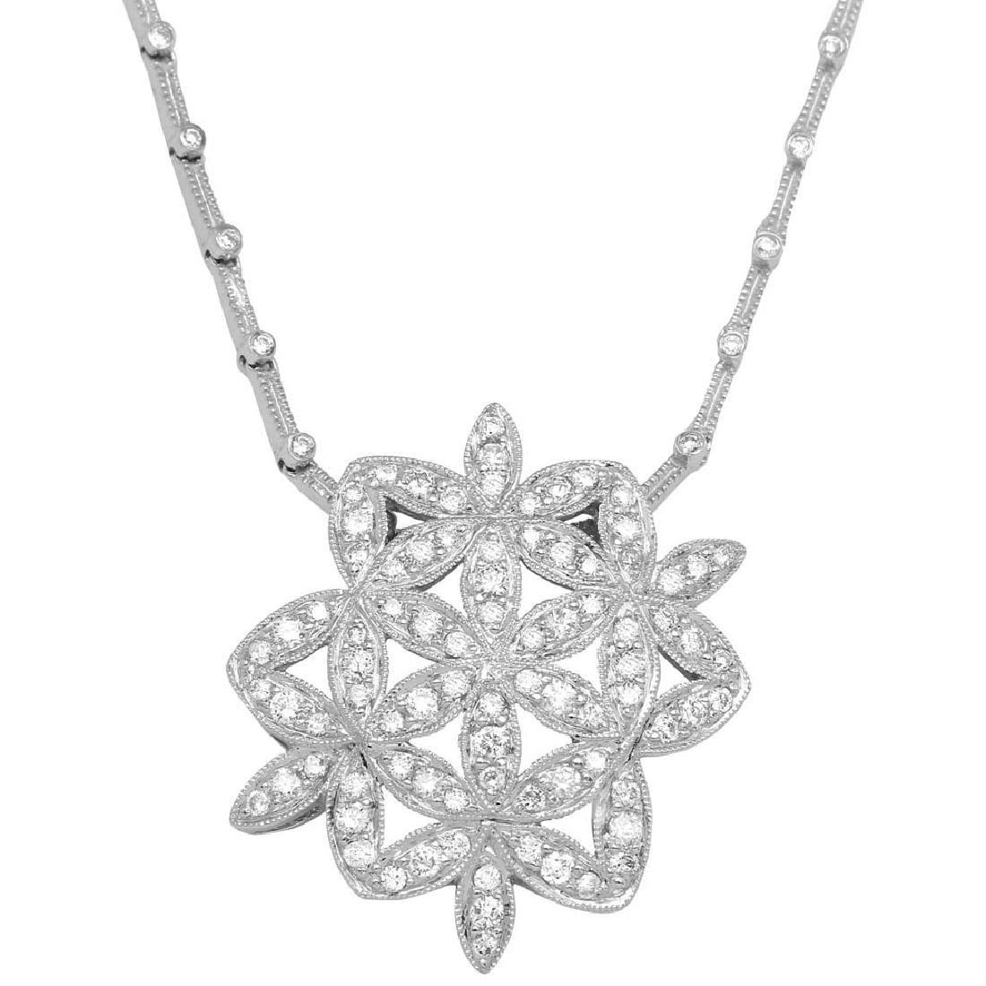 Genuine 1.32 TCW 18K White Gold Ladies Necklace
