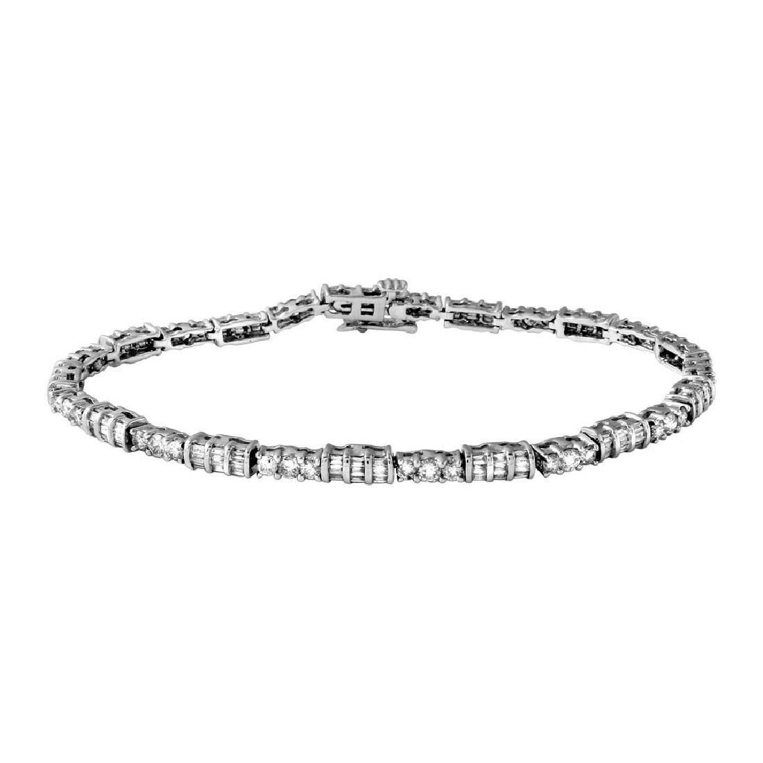 Genuine 3.1 TCW 14K White Gold Ladies Bracelet