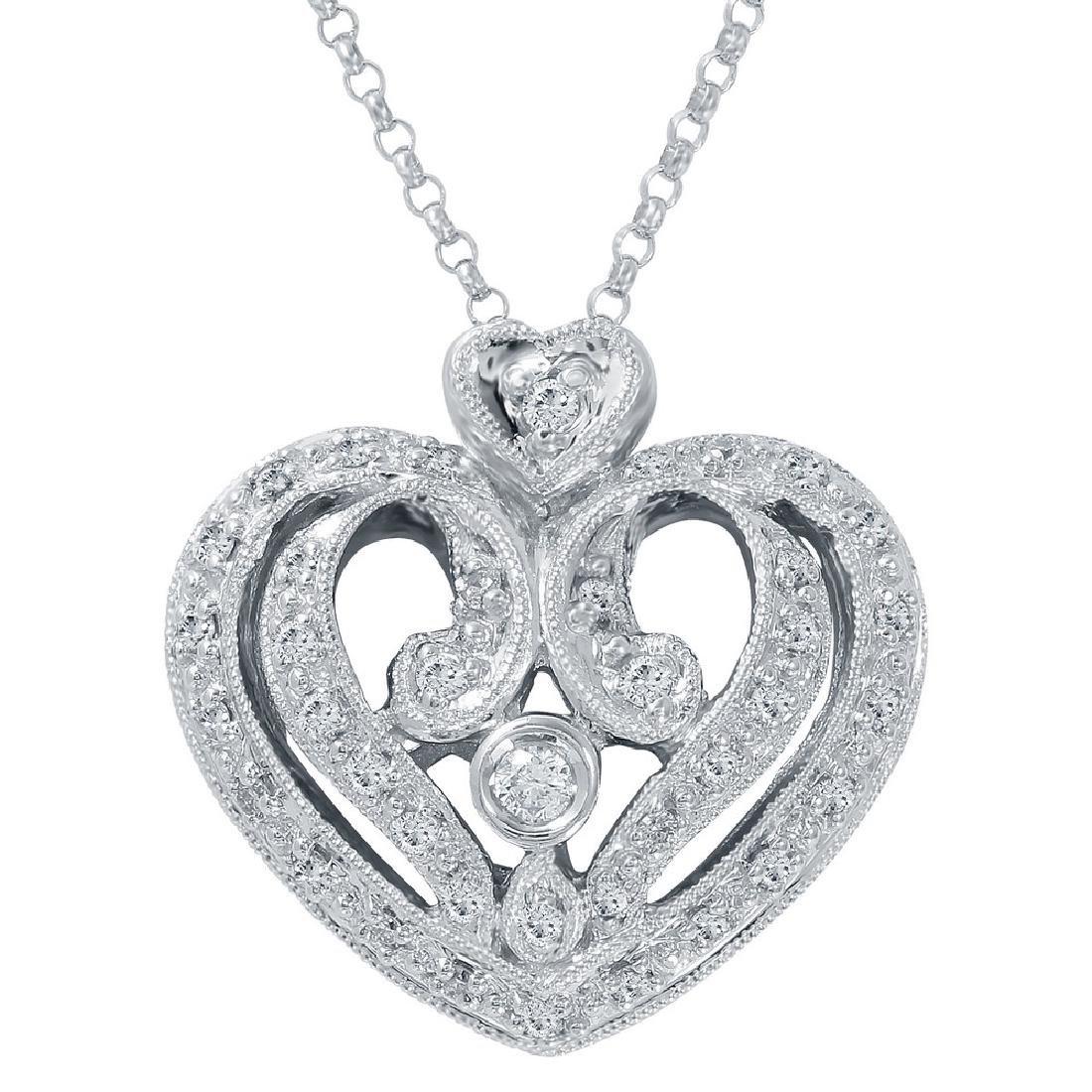 Genuine 0.31 TCW 14K White Gold Ladies Necklace