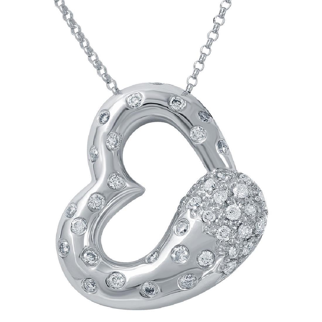 Genuine 0.7 TCW 14K White Gold Ladies Necklace