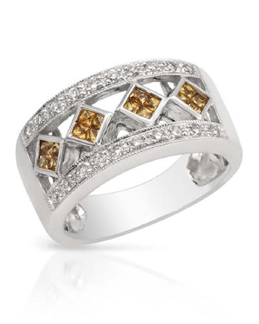 Genuine 0.65 TCW 14K White Gold Ladies Ring