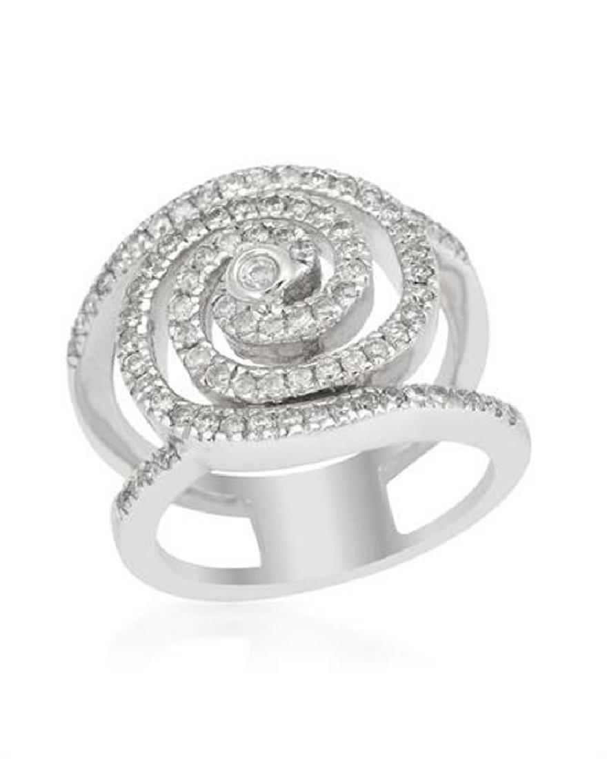 Genuine 0.76 TCW 18K White Gold Ladies Ring