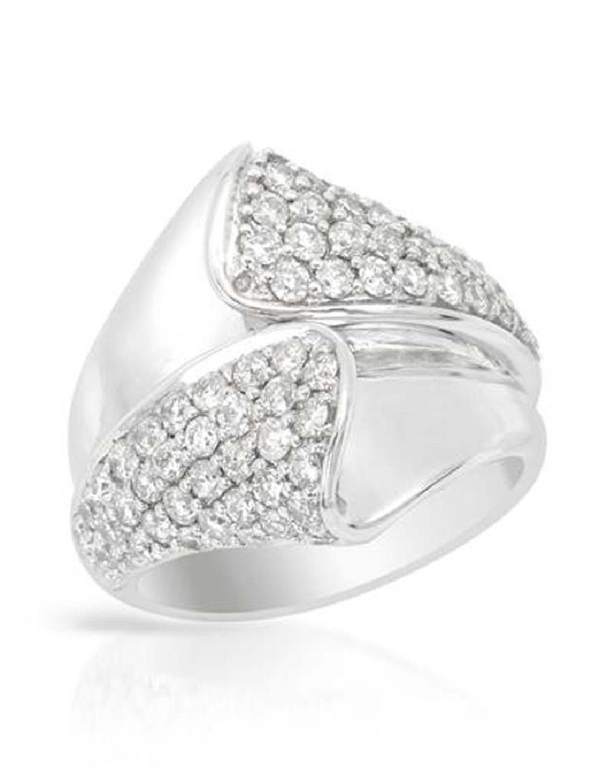 Genuine 1.51 TCW 18K White Gold Ladies Ring