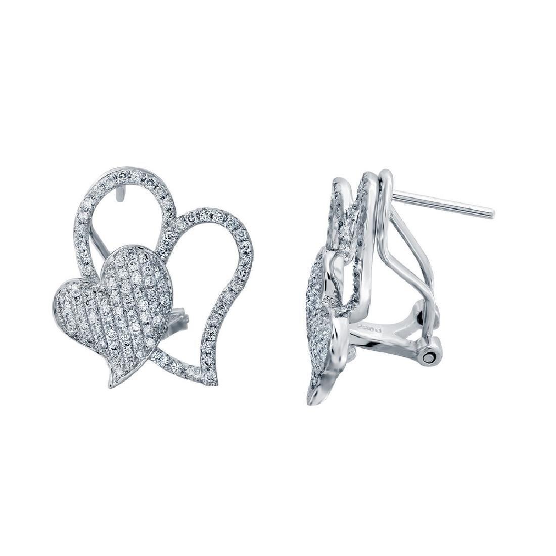 14K White Gold 0.89CTW Diamond Earring