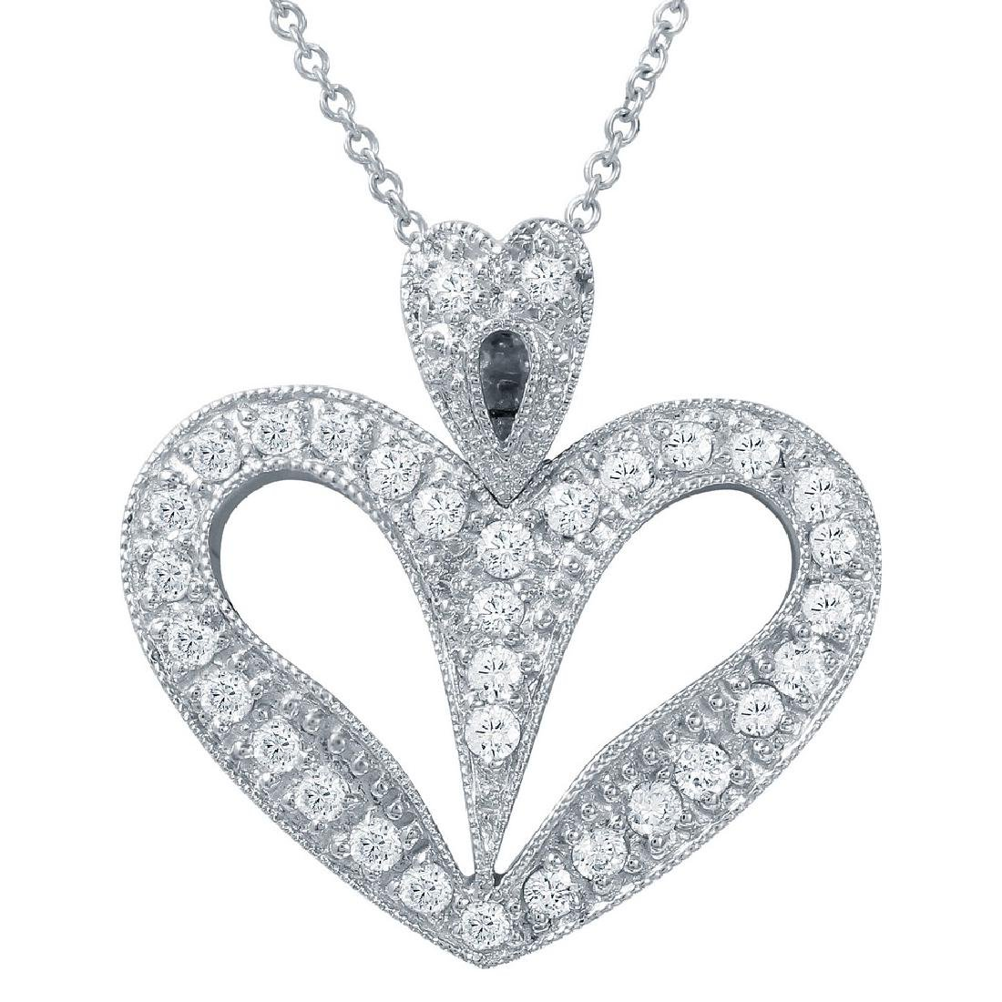 Genuine 0.63 TCW 14K White Gold Ladies Necklace