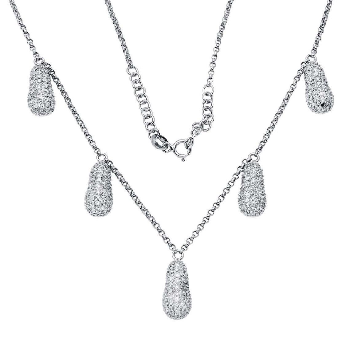 Genuine 2.17 TCW 18K White Gold Ladies Necklace