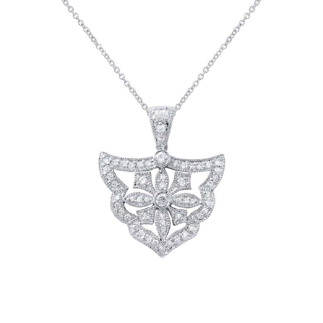 Genuine 0.49 TCW 18K White Gold Ladies Necklace