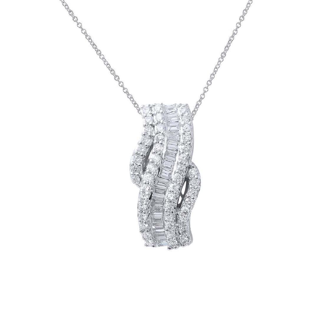 Genuine 1.01 TCW 18K White Gold Ladies Necklace