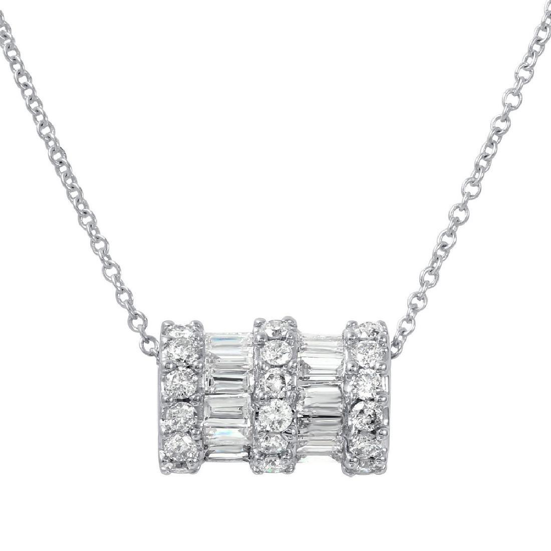Genuine 0.75 TCW 14K White Gold Ladies Necklace