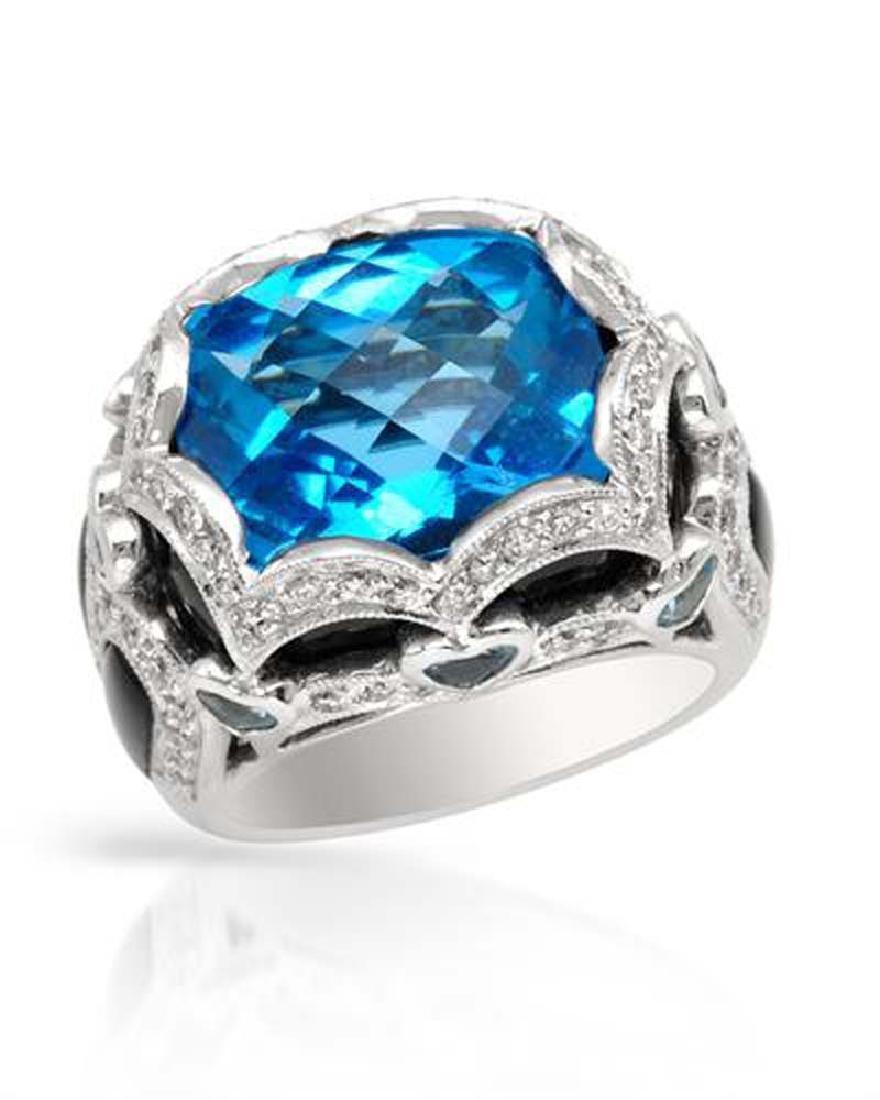 Genuine 0 TCW 18K White Gold Ladies Ring