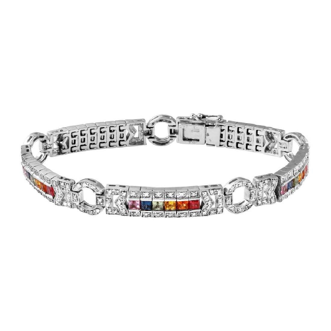 Genuine 4.97 TCW 14K White Gold Ladies Bracelet