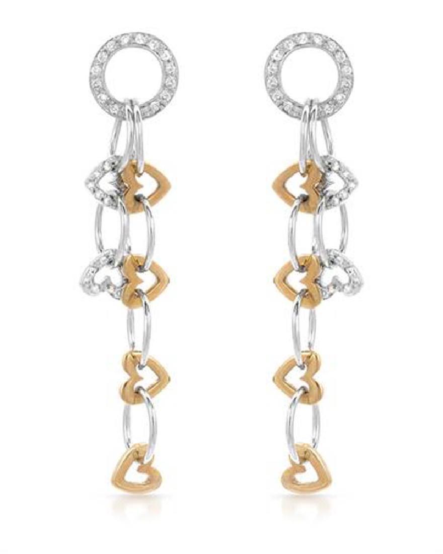 Genuine 0.56 TCW 18K Two Tone Gold Ladies Earring