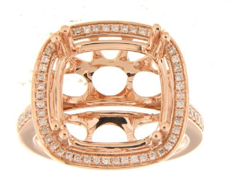 14K Rose Gold 0.33CTW Diamond Semi Mount Ring