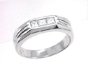 14K White Gold 0.58CTW Diamond Gent's Ring