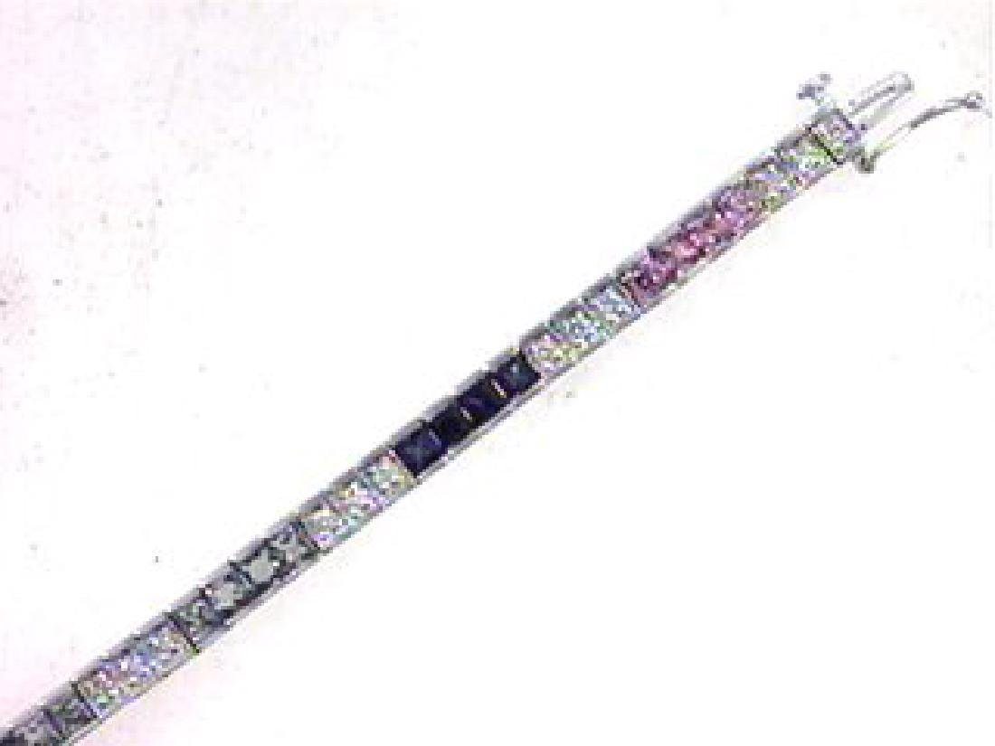 18K White Gold 5.41CTW Sapphire Tennis Bracelet