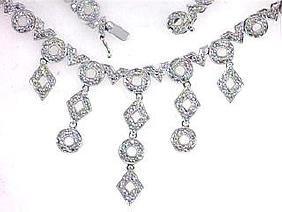 14K White Gold 7.27CTW Diamond Necklace
