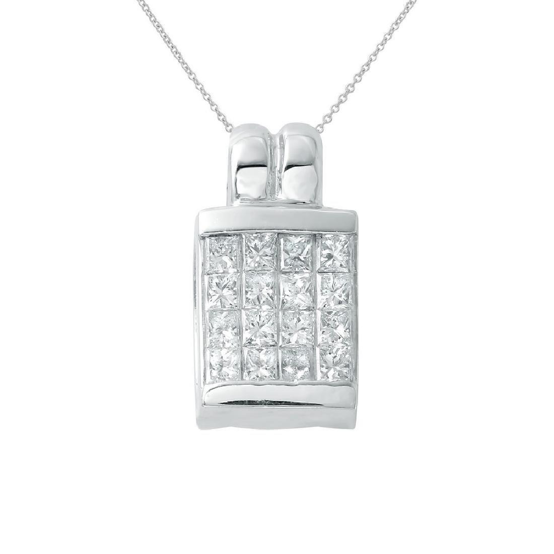Genuine 0.66 TCW 18K White Gold Ladies Pendant