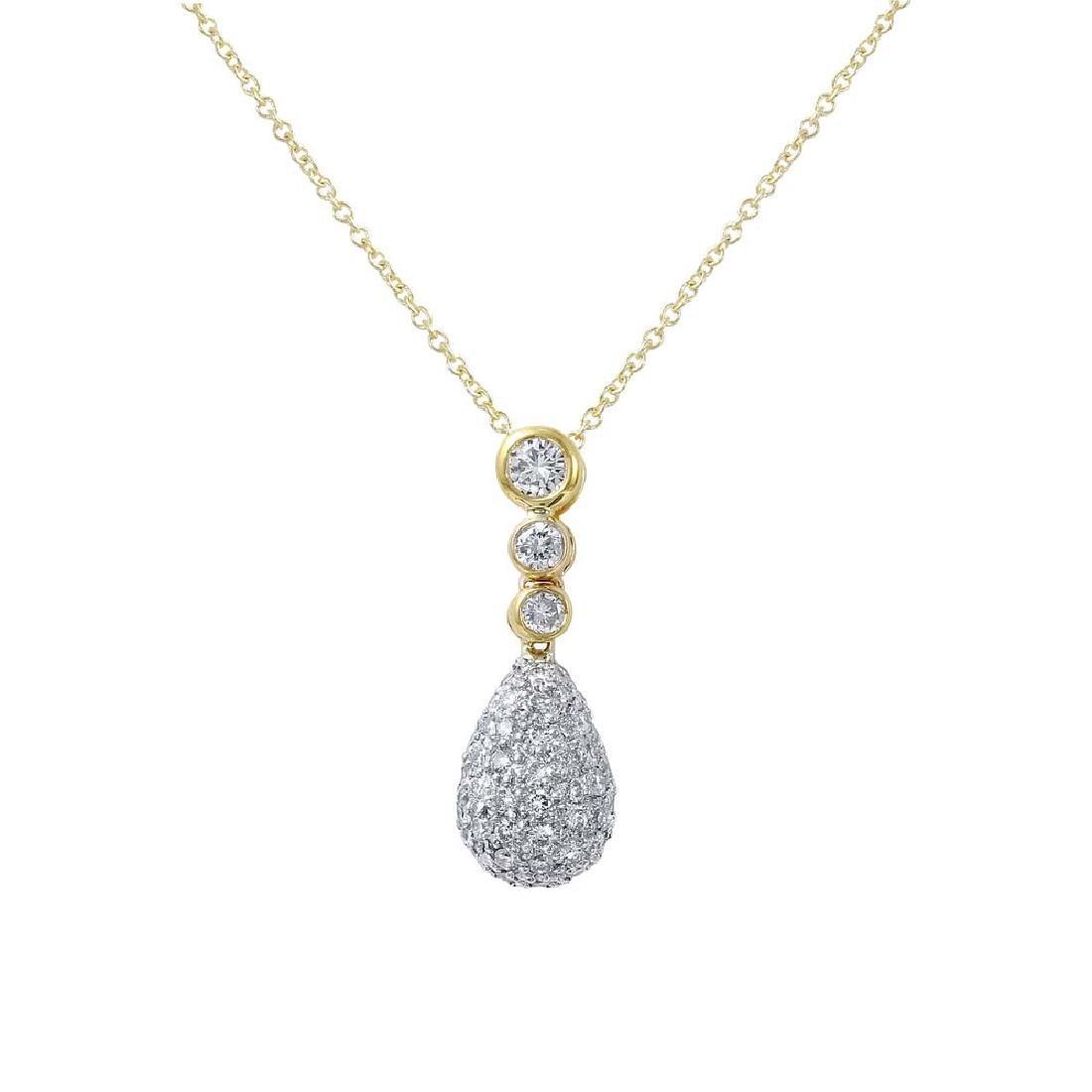 Genuine 0.66 TCW 18K Yellow Gold Ladies Necklace