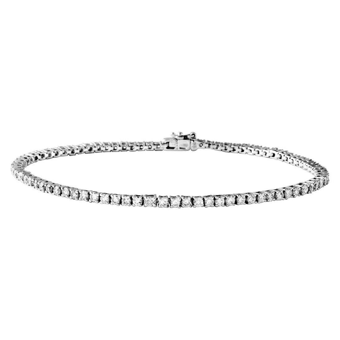Genuine 2.42 TCW 18K White Gold Ladies Bracelet