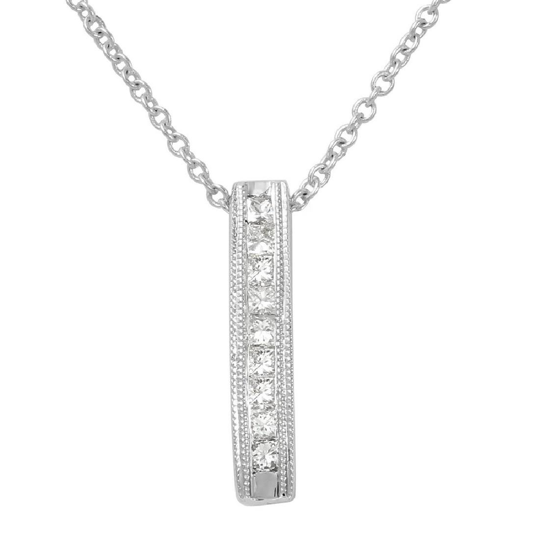 Genuine 0.15 TCW 14K White Gold Ladies Necklace