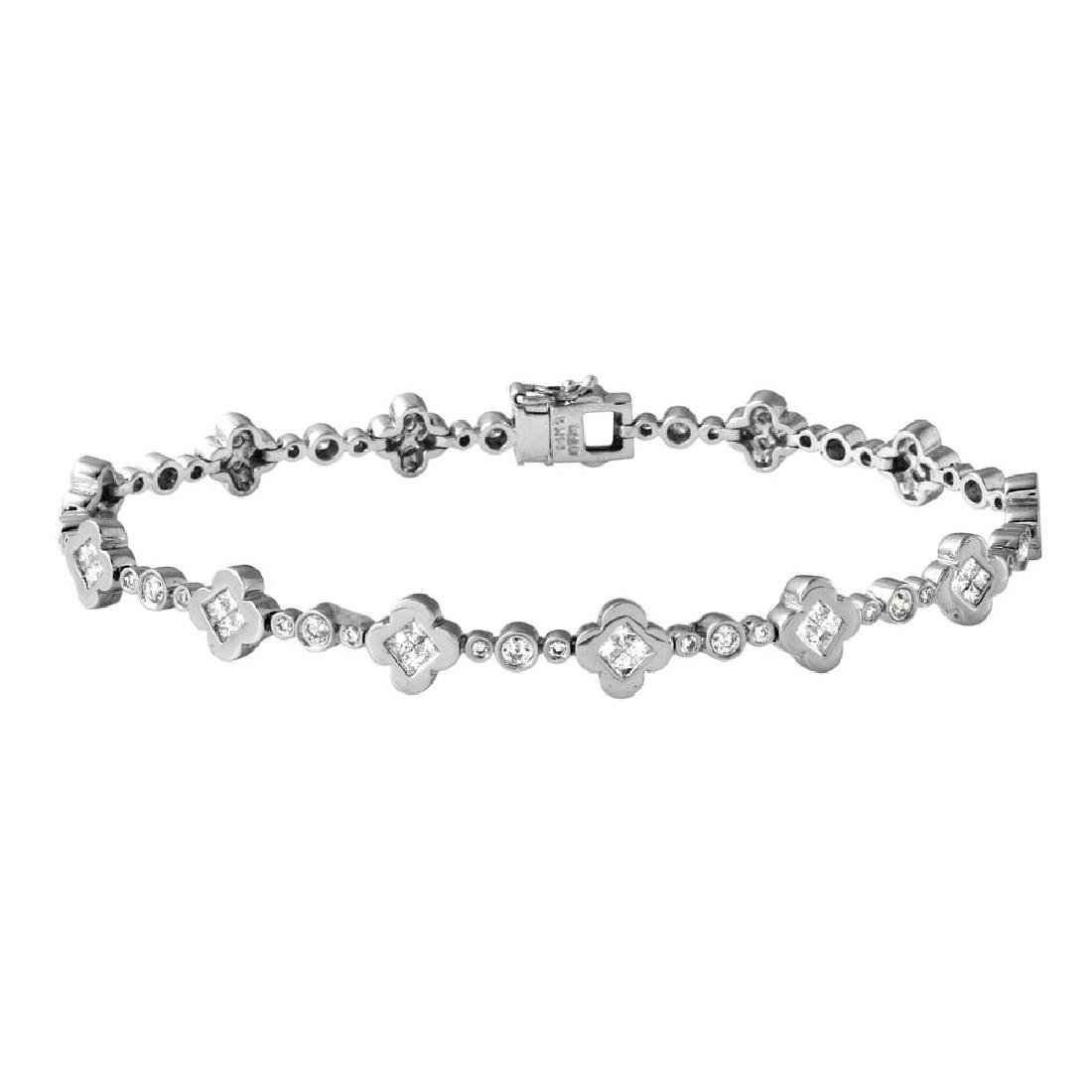 Genuine 1.35 TCW 14K White Gold Ladies Bracelet