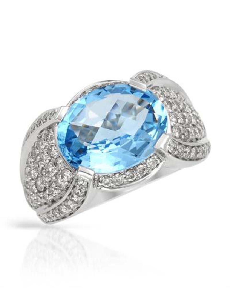 Genuine 7.11 TCW 14K White Gold Ladies Ring