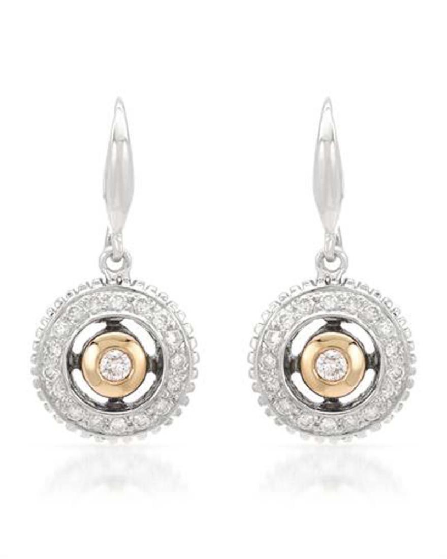 Genuine 0.046TCW 18K Two Tone Gold Ladies Earring