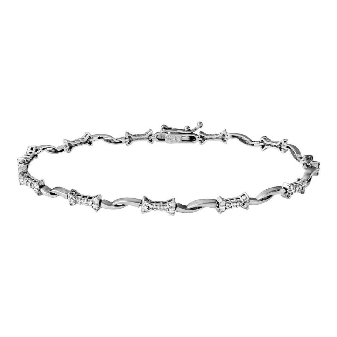 Genuine 0.8 TCW 18K White Gold Ladies Bracelet
