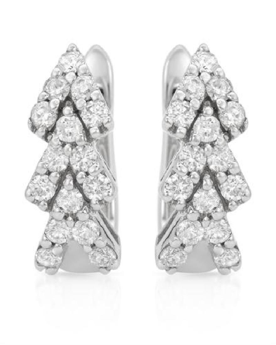 Genuine 1.23 TCW 18K White Gold Ladies Earring