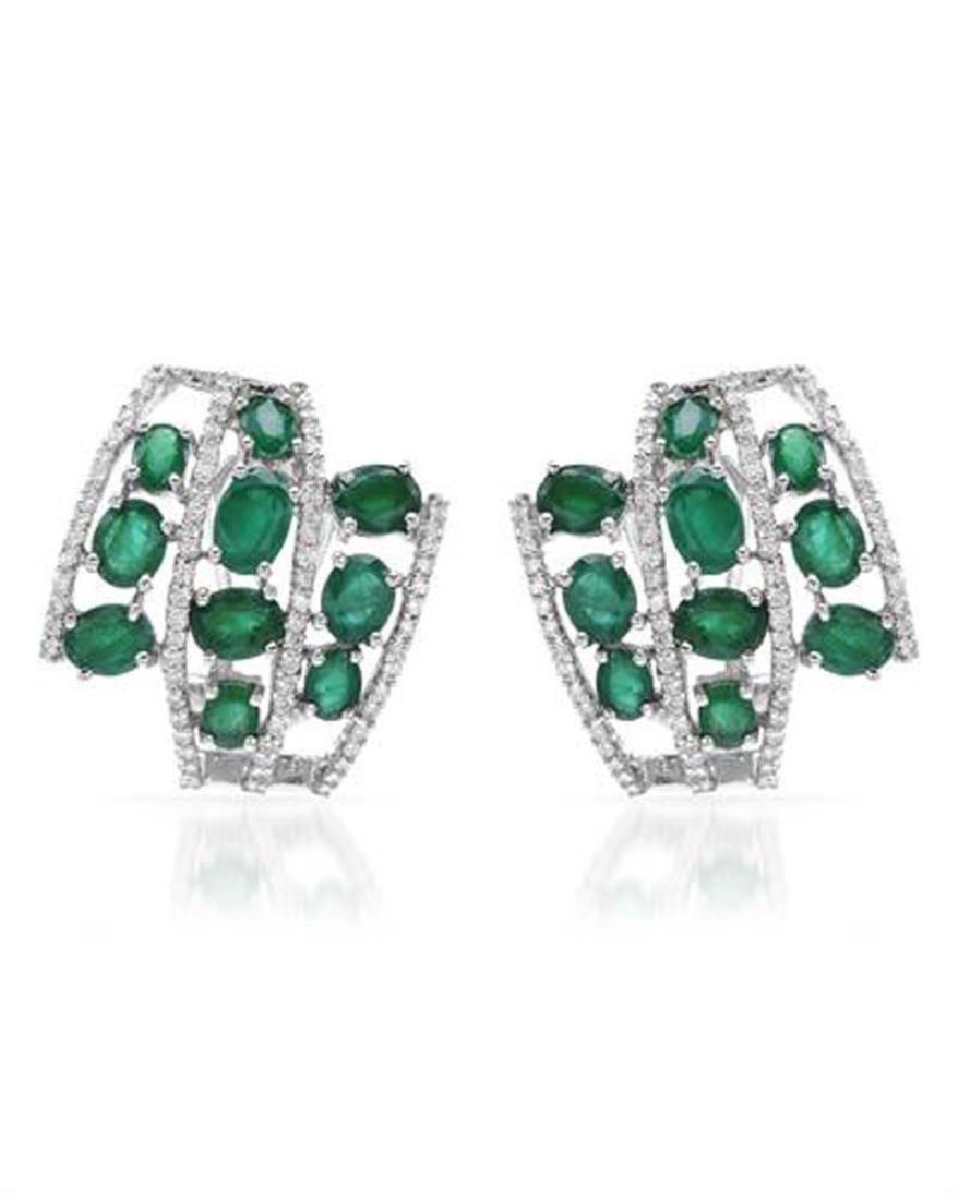 18KWhite Gold 6.73 CTW Emerald & Diamond Earring