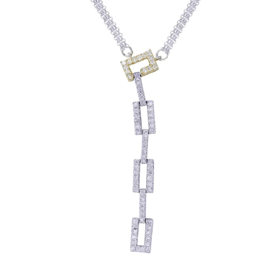 Genuine 0.89TCW 18K Two Tone Gold Ladies Necklace