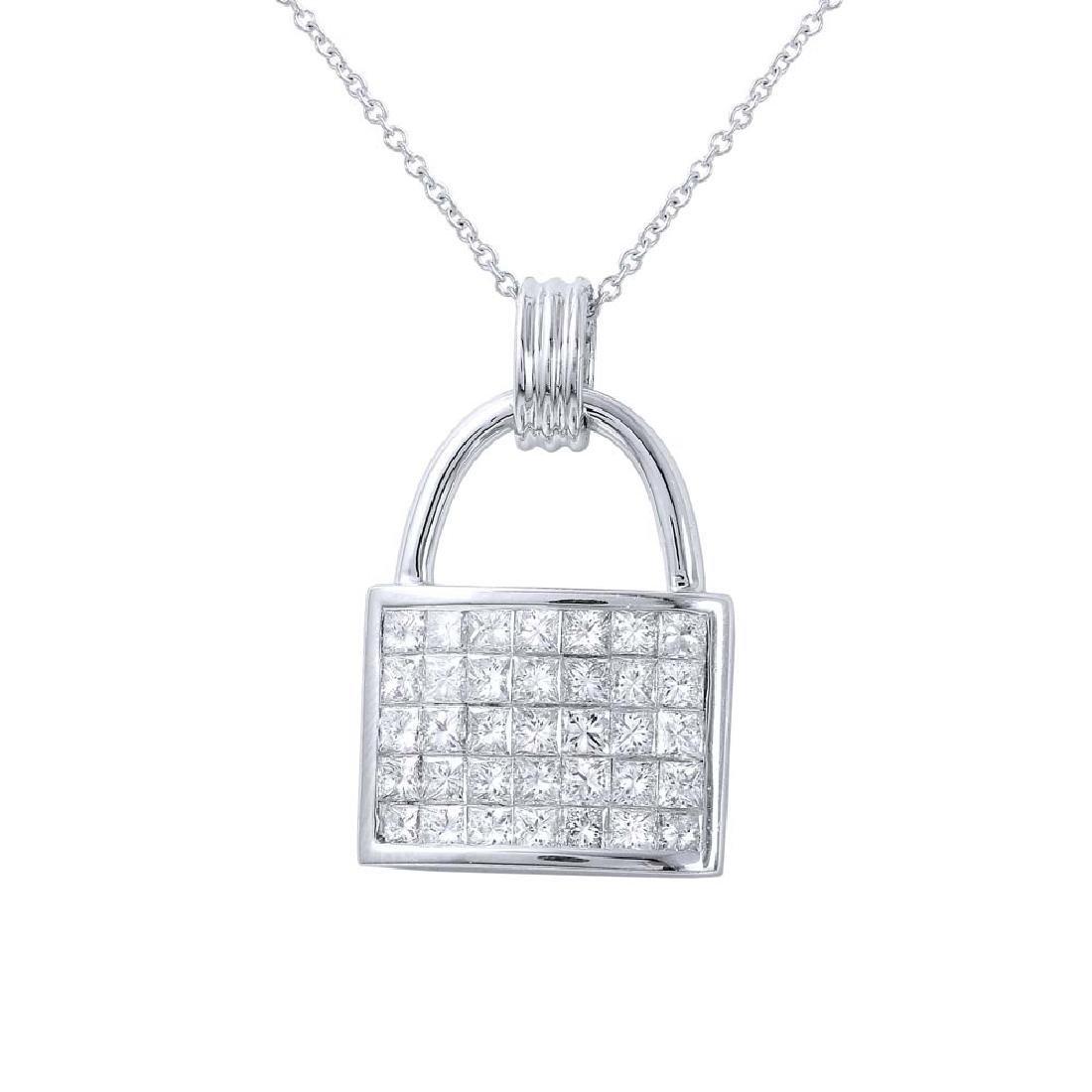 Genuine 1.79 TCW 14K White Gold Ladies Necklace