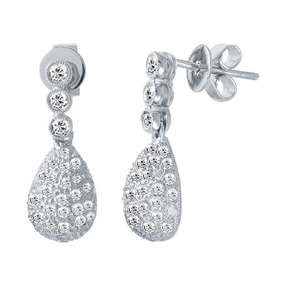 Genuine 1.2 TCW 18K White Gold Ladies Earring