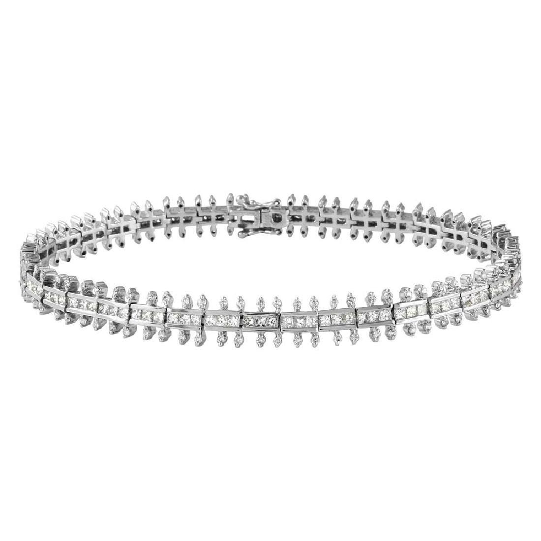 Genuine 3.73 TCW 14K White Gold Ladies Bracelet