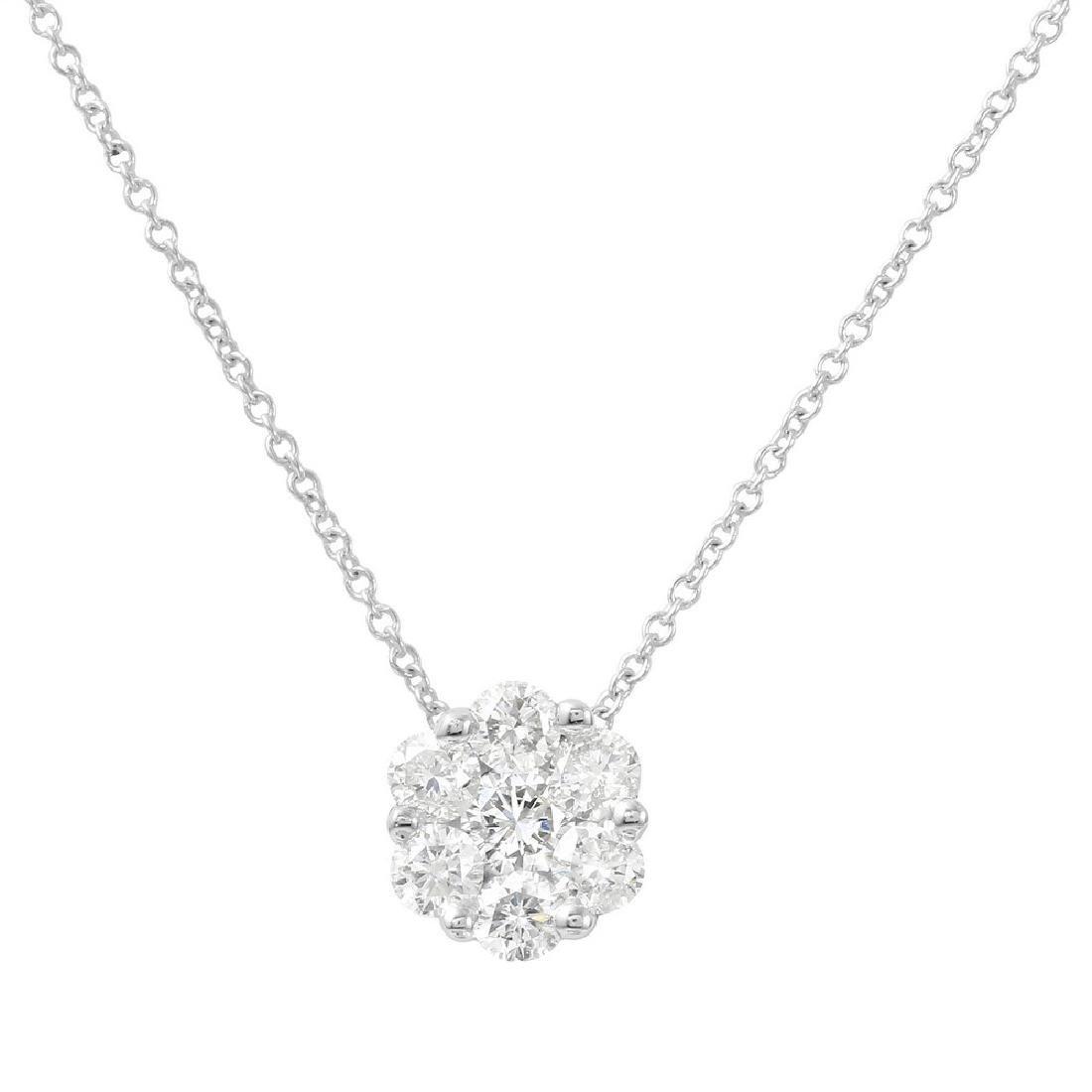Genuine 0.75 TCW 14K White Gold Ladies Pendant