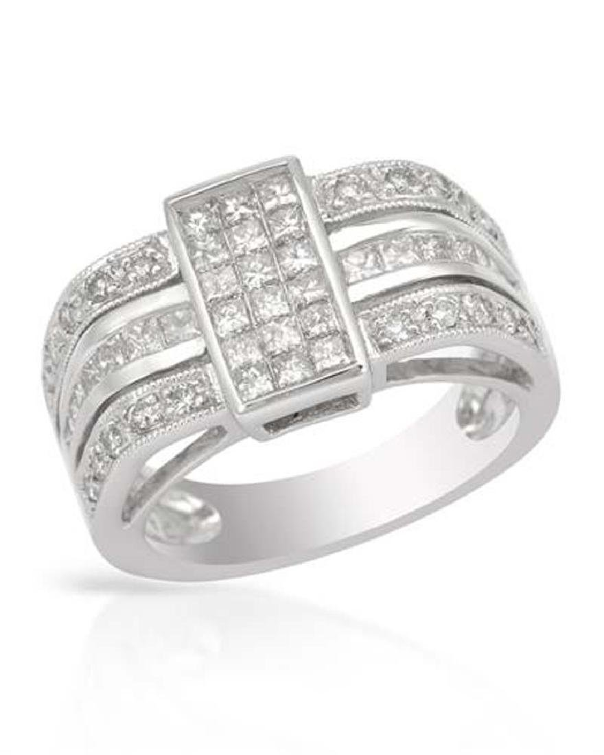 Genuine 1.07 TCW 14K White Gold Ladies Ring