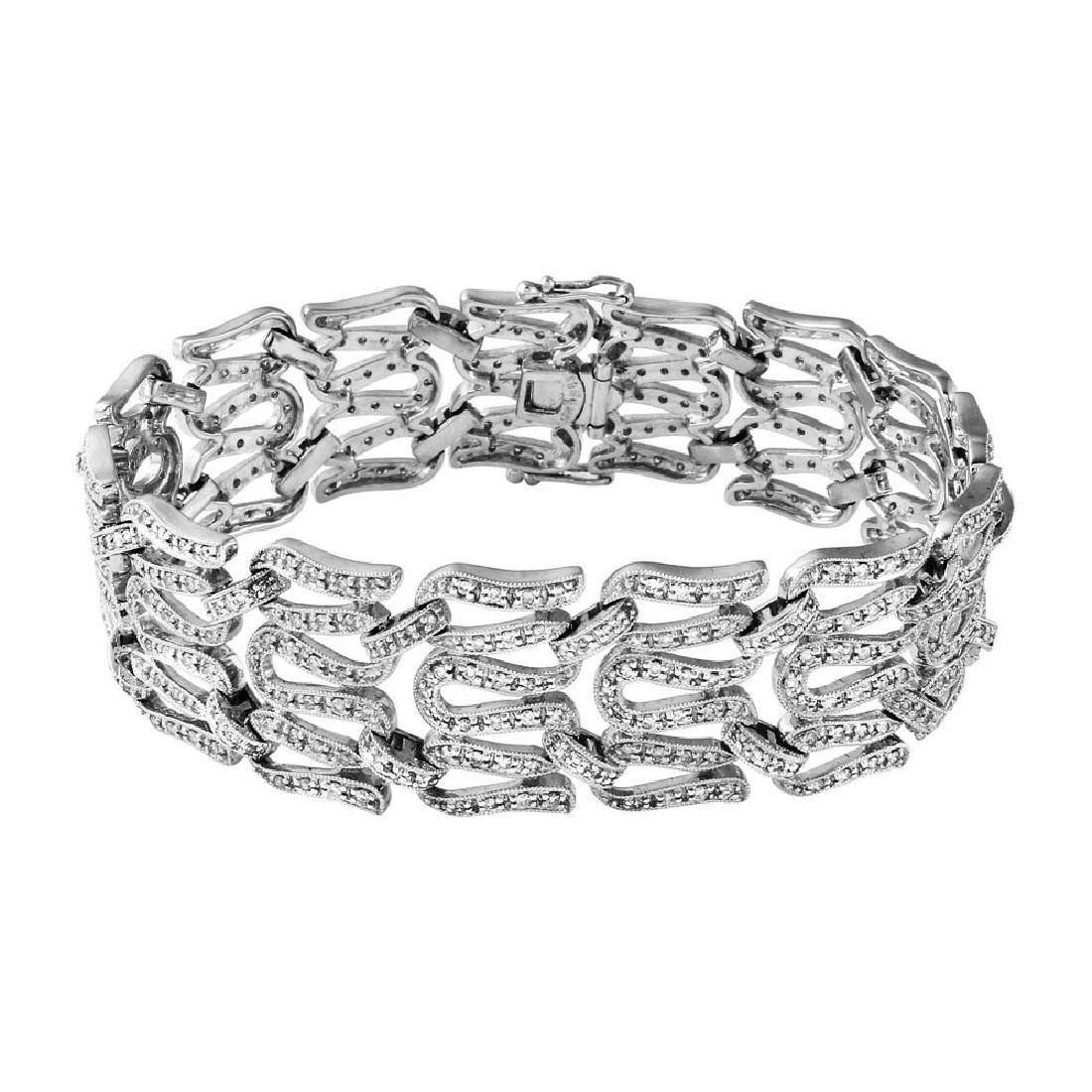 Genuine 2.55 TCW 18K White Gold Ladies Bracelet