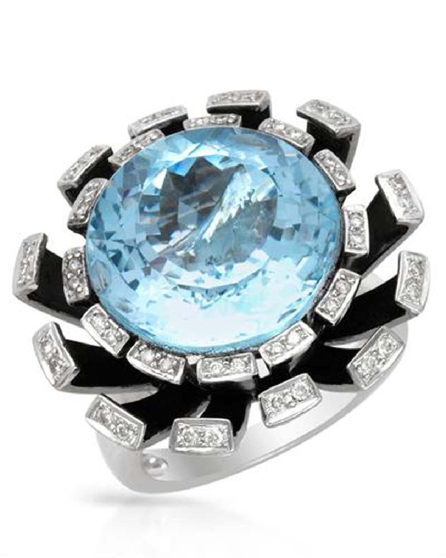 Genuine 19.47 TCW 18K White Gold Ladies Ring