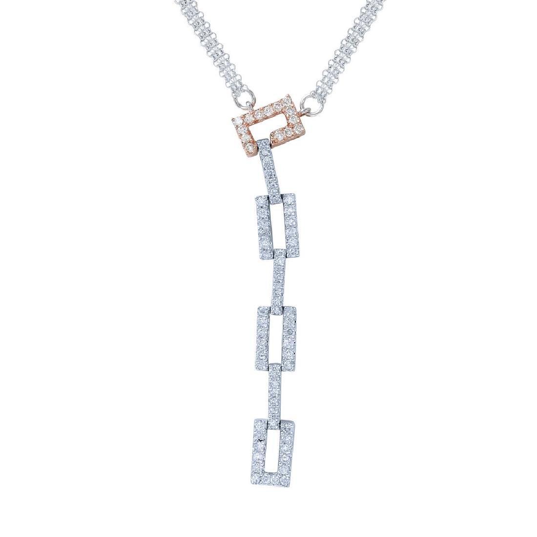 Genuine 0.92TCW 18K Two Tone Gold Ladies Necklace