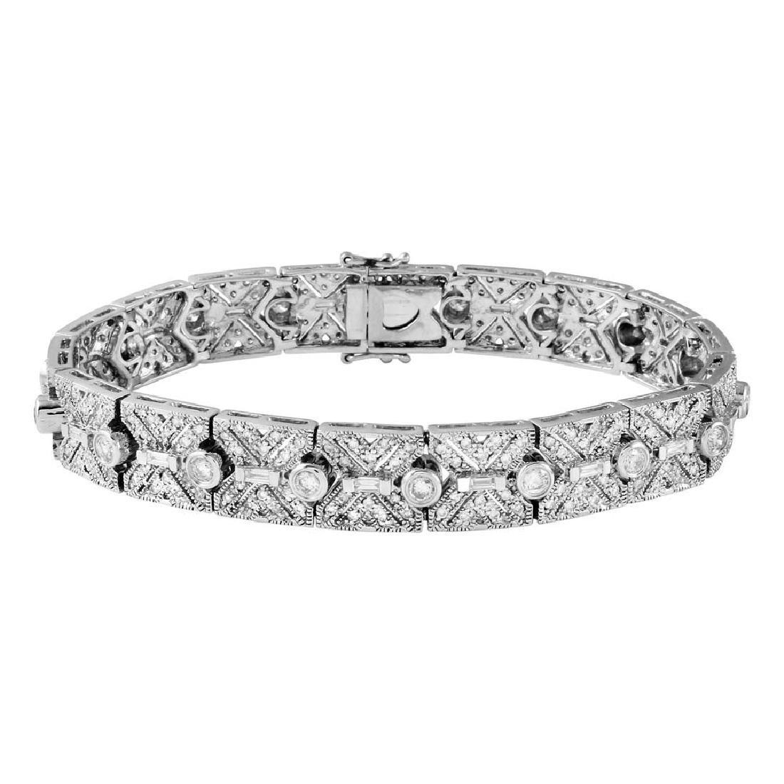 Genuine 3.53 TCW 14K White Gold Ladies Bracelet