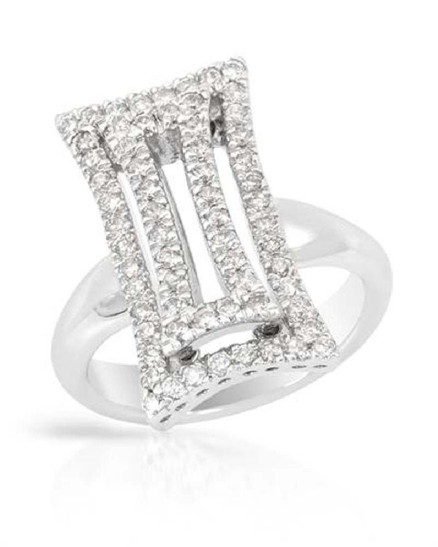 Genuine 0.68 TCW 14K White Gold Ladies Ring