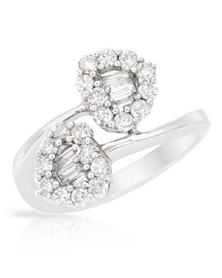 Genuine 1.1 TCW 14K White Gold Ladies Ring