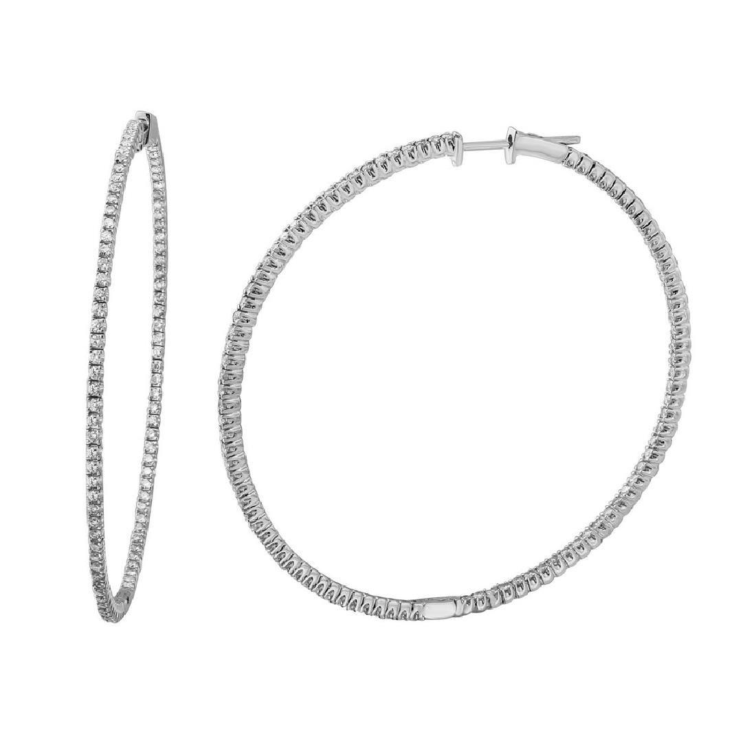 14K White Gold 1.76CTW Diamond Hoop Earring