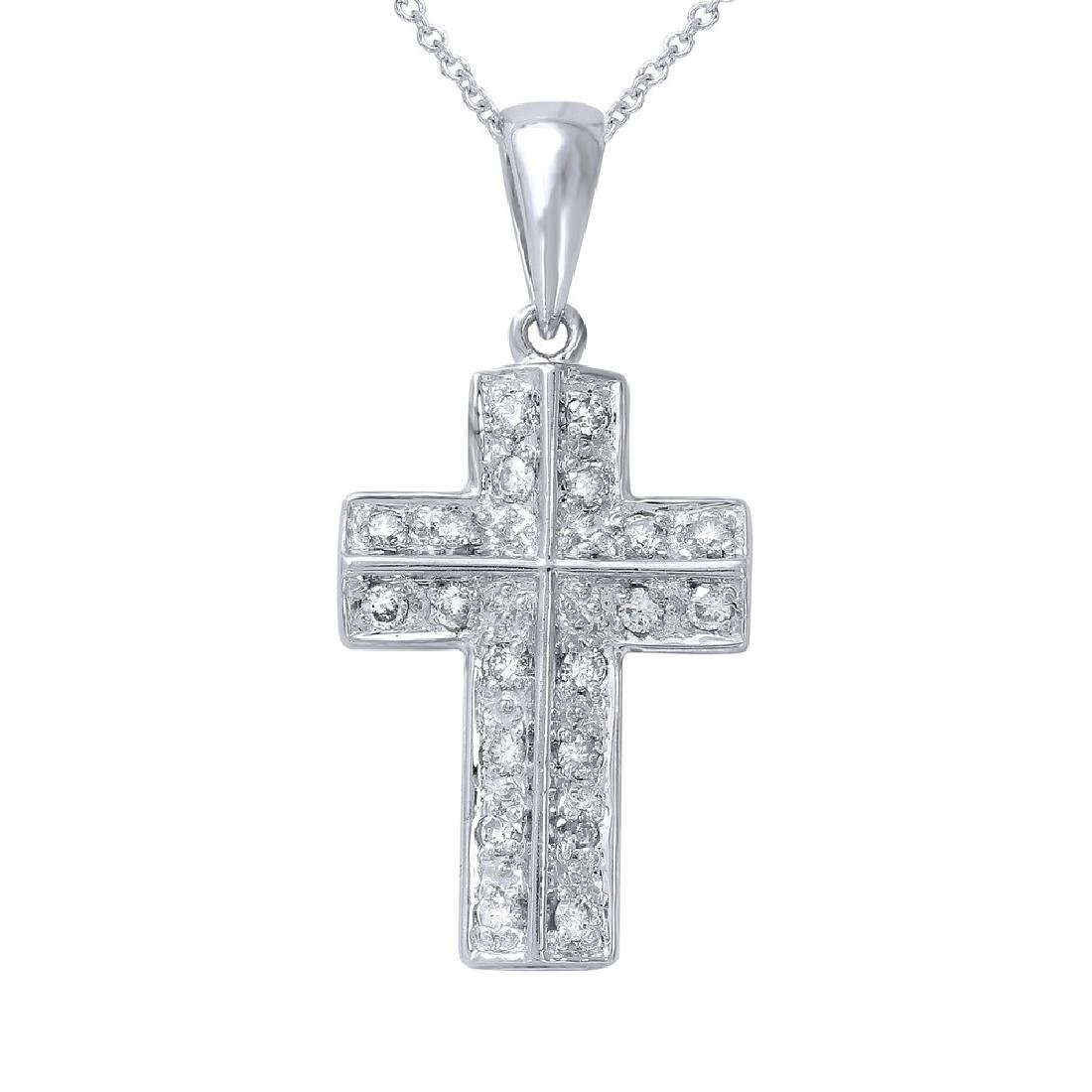 Genuine 0.3 TCW 14K White Gold Ladies Necklace