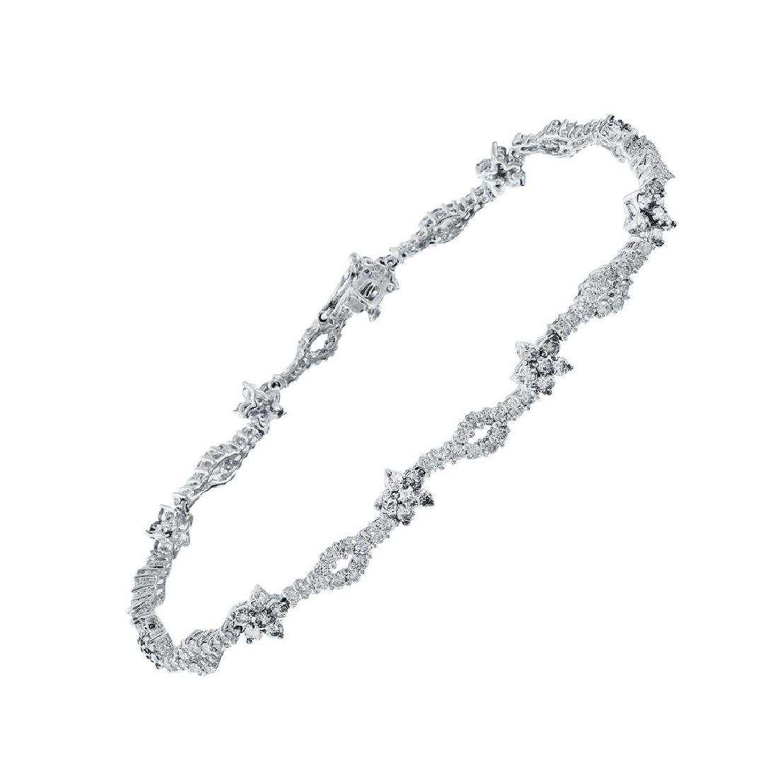 Genuine 2.83 TCW 14K White Gold Ladies Bracelet