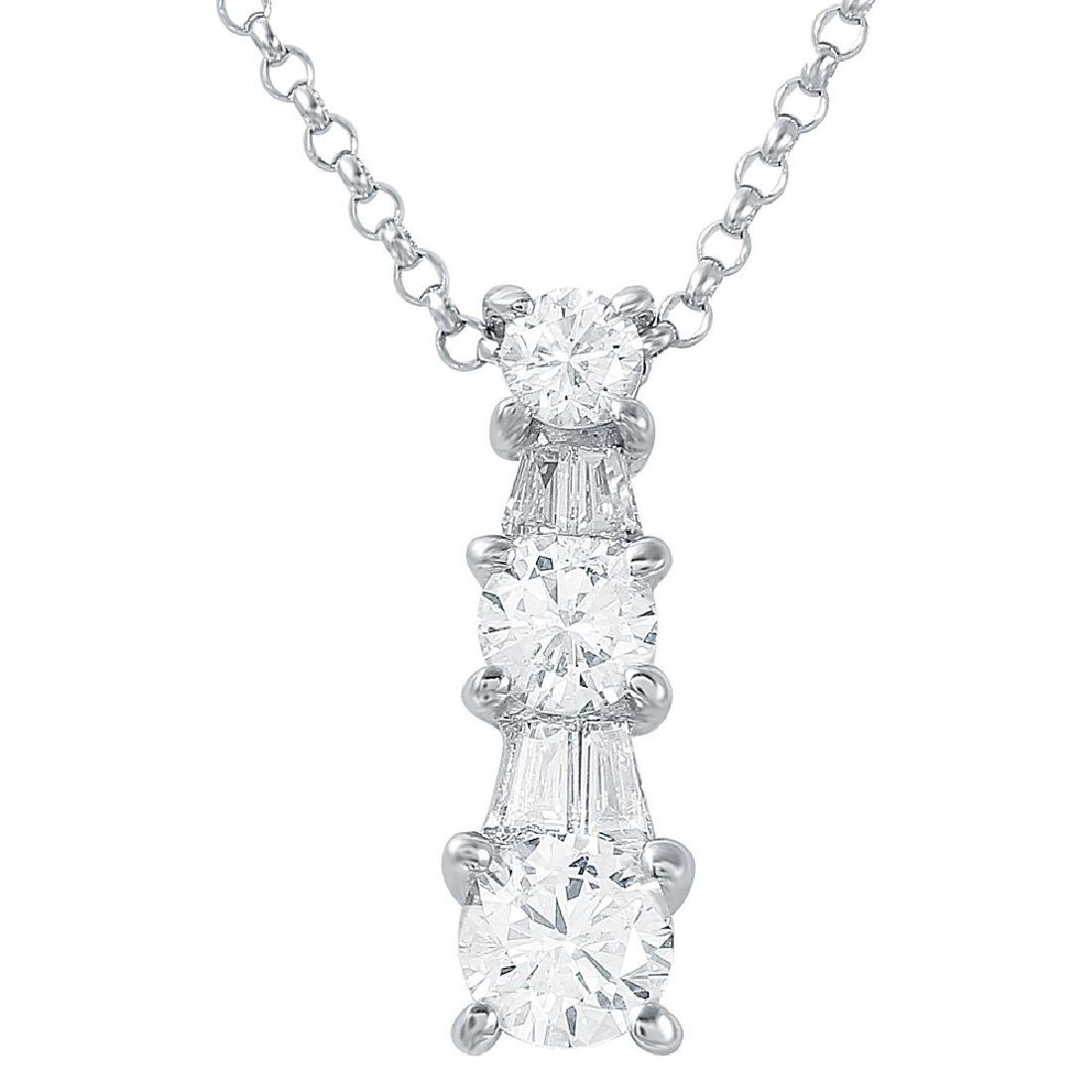 Genuine 0.76 TCW 14K White Gold Ladies Necklace