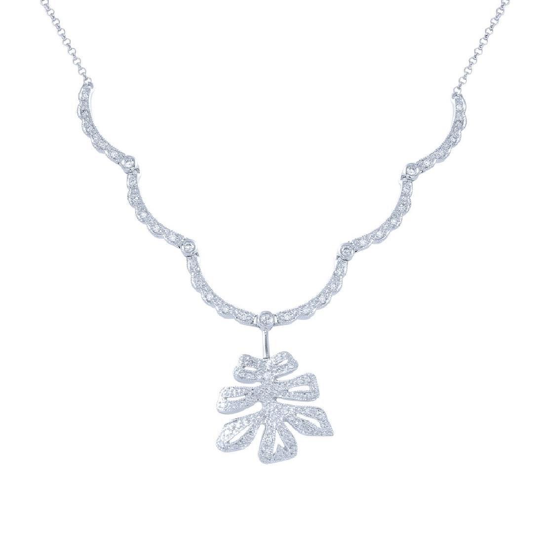 Genuine 0.59 TCW 18K White Gold Ladies Necklace