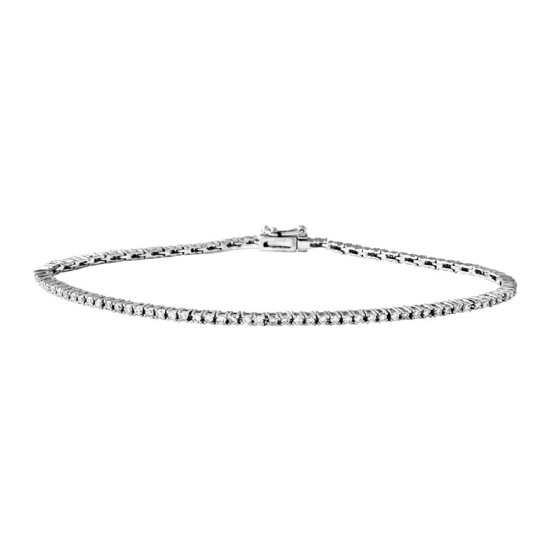Genuine 1.02 TCW 18K White Gold Ladies Bracelet