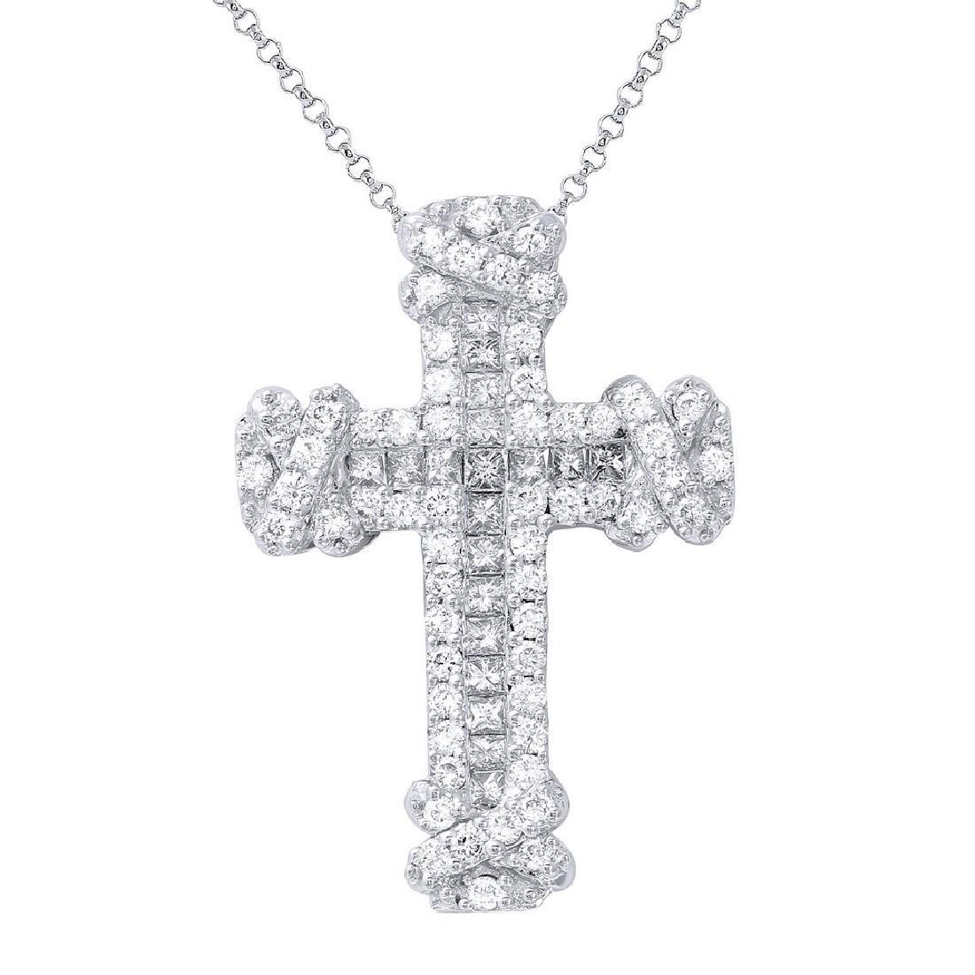 Genuine 1.21 TCW 18K White Gold Ladies Necklace